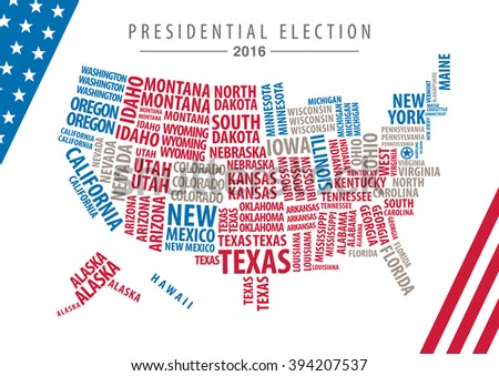 Vector 2016 USA Presidential Election Map of state words - stock vector
