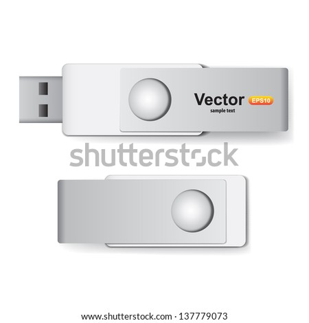 Vector USB flash drive for corporate identity - stock vector