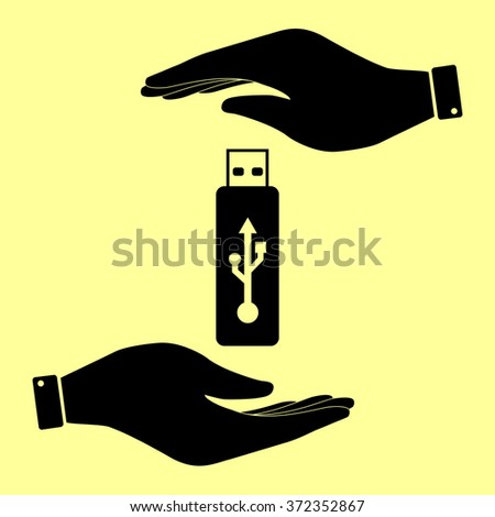 Vector usb flash drive sign. Save or protect symbol by hands. - stock vector