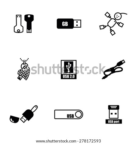 Vector USB icon set on white background - stock vector