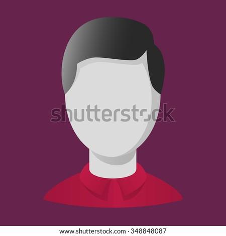 Vector user icon. Avatar sign. Black hair. Faceless. Magenta background. Red shirt. - stock vector