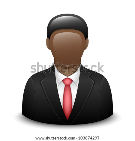 Vector user icon of black man in business suit - stock vector
