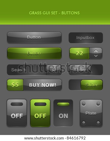 Vector User Interface Elements - Buttons - stock vector