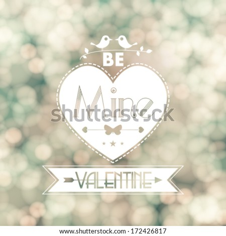 Vector Valentine card blurred flickering lights background illustration - stock vector
