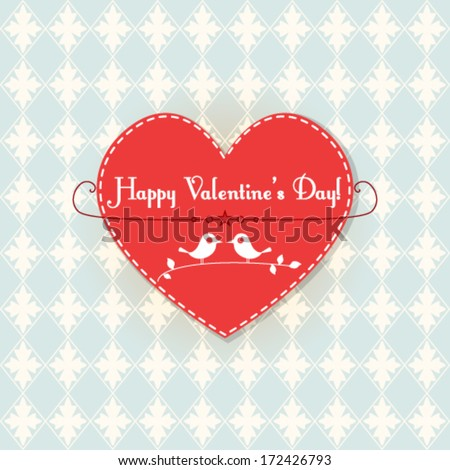 Vector Valentine card with cute birds illustration - stock vector