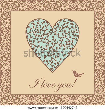 vector valentine card with orient lace pattern, spring heart and bird - stock vector