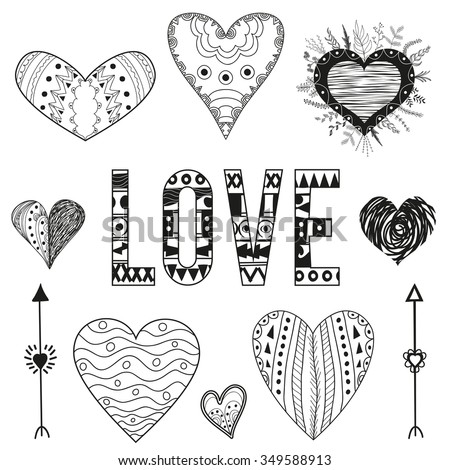 Vector valentine day design elements set, love decorative collection with arrows, hearts, lettering word. Doodle hand drawn style illustration for greeting card, t-shirts and bags print, scrapbooking - stock vector