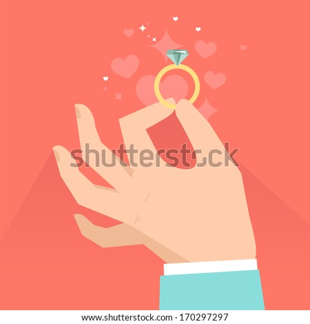 Vector valentine day greeting card in flat style - male hands holding engagement ring  in flat style - stock vector