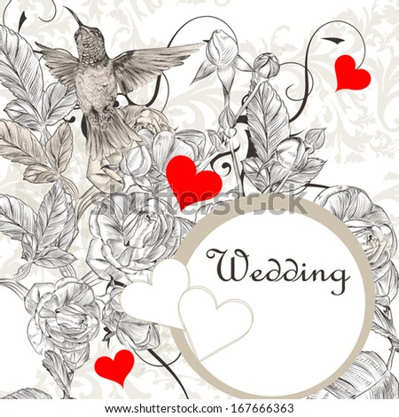 Vector valentine design  with bird, hearts  and flowers - stock vector