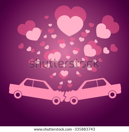 Vector Valentine greeting card with two cars kissing each other and little hearts flying around them. Automobile crash. Road incident with happy ending. A couple in love kissing passionately. - stock vector