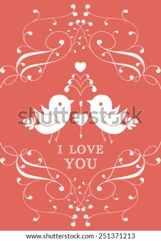 Vector Valentine's day card or invitation with floral ornament background. Perfect as invitation or announcement. - stock vector