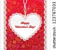 Vector Valentine's day lacy paper heart greeting card on doodle ornate background - stock vector
