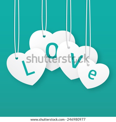 Vector Valentine's greeting card. Hanging hearts. - stock vector