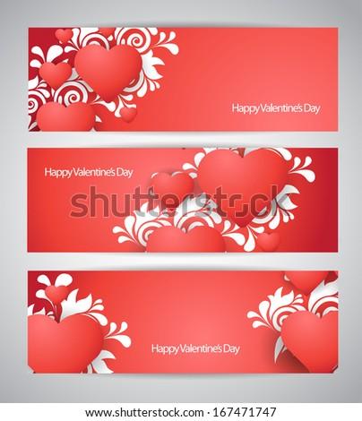 vector valentines banner set - stock vector