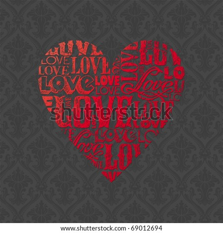 "Vector Valentines card with heart made of hand drawn words ""love"" - stock vector"