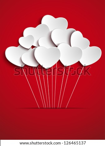 Vector - Valentines Day Heart Balloons on Red Background - stock vector