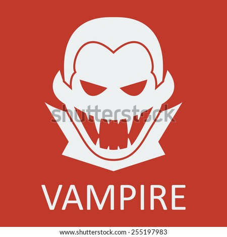 Vector vampire on red background. Format eps 10 - stock vector