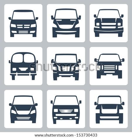 Vector van icons set: front view - stock vector