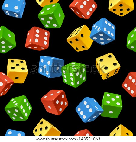 Vector varicoloured dice seamless pattern isolated on black background - stock vector