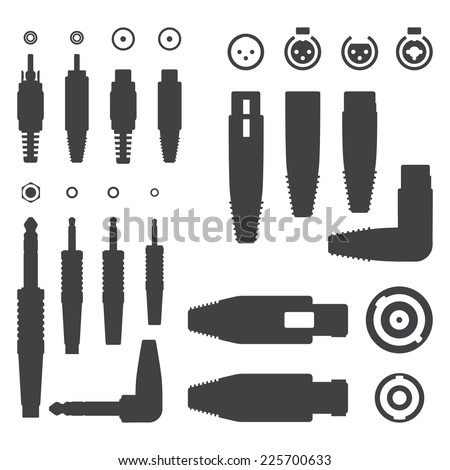 vector Various Audio Connectors Silhouettes - stock vector