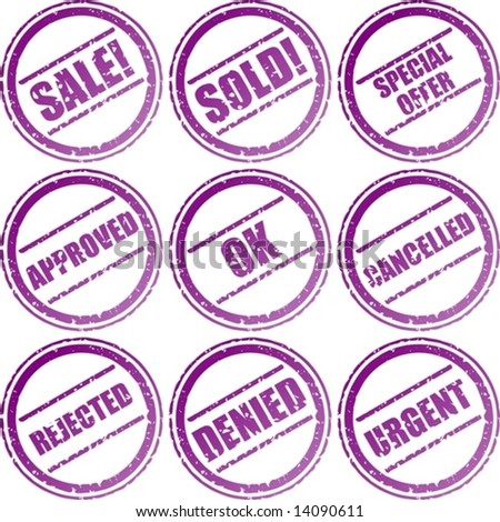 vector. various circular rubber stamp signs - stock vector