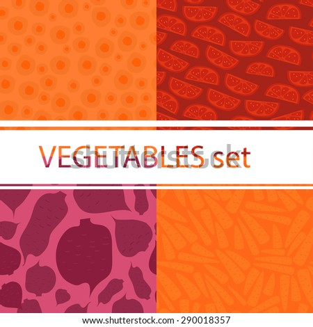 Vector vefetables set with 4 pattern.  - stock vector
