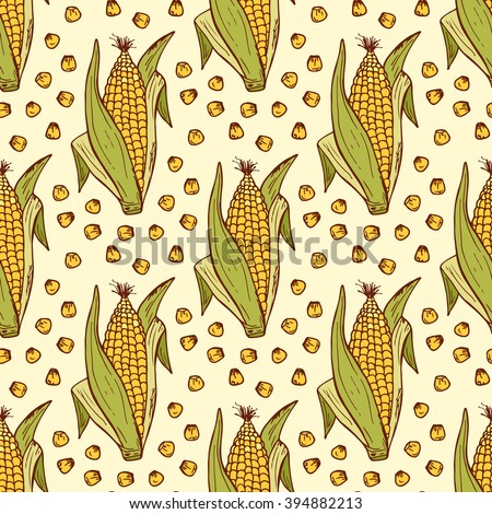 Vector Vegetable background. Hand drawn doodle Corn cobs and corn grains Seamless pattern  - stock vector