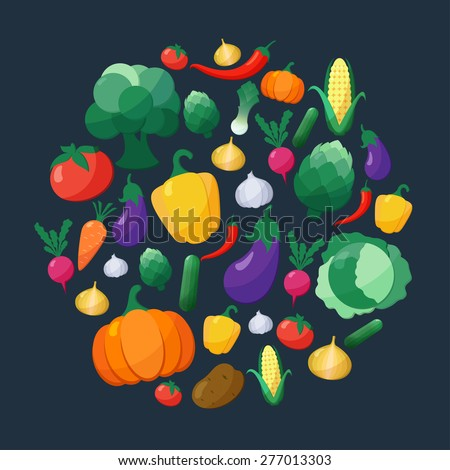 Vector Vegetables Flat Style Icons Set in Circle Shape over Dark Background with Eggplant, Carrot, Paprika, Artichoke, Corn,  Pumpkin, Potato, Leek, Pepper, Onion, Broccoli,  Cabbage, Tomato, Garlic - stock vector