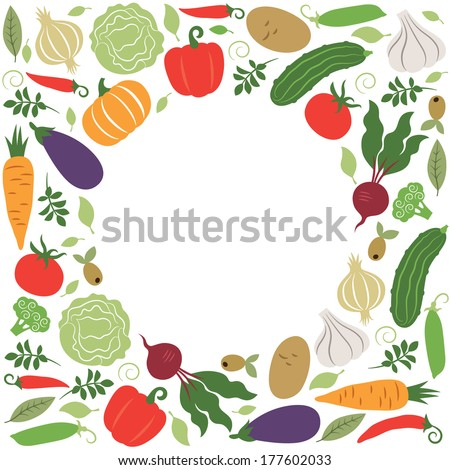 vector vegetables , place for your text - stock vector