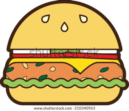 Vector Veggie Burger Icon - stock vector