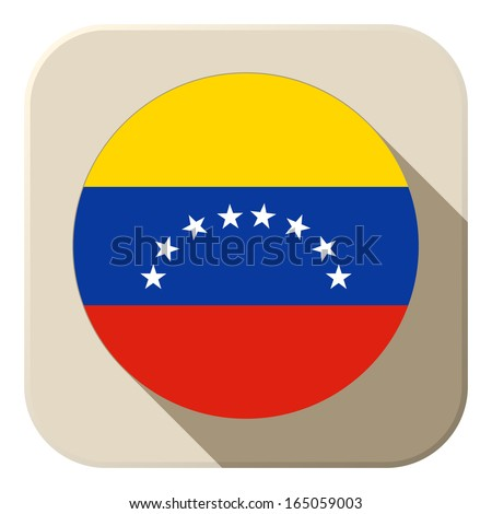 Vector - Venezuela Flag Button Icon Modern - stock vector