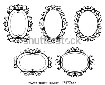 Vector version. Antique vintage frames and borders isolated on white for design. Jpeg version is also available - stock vector