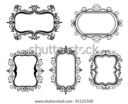 Vector version. Antique vintage frames isolated on white for design. Jpeg version is also available - stock vector