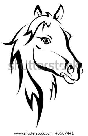 Vector version. Black horse silhouette isolated on white for design - stock vector