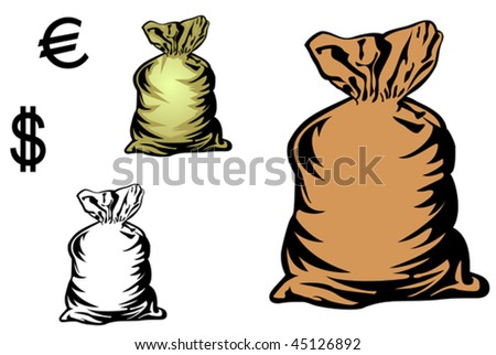 Vector version. Money bag in three variations with currency symbols for design. Jpeg version is also available - stock vector