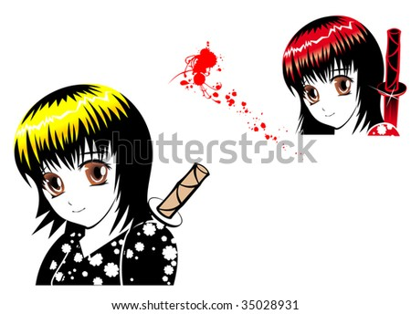 Vector version. Young girl ninja with blood in manga style - stock vector
