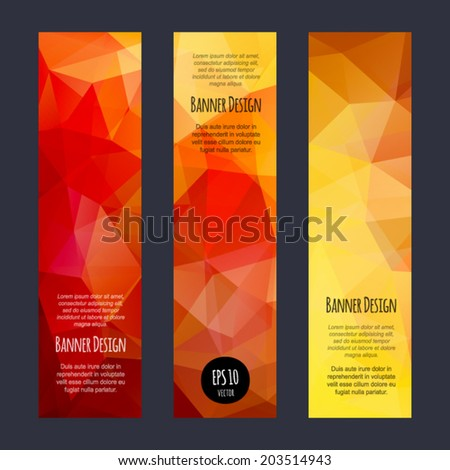 Vector vertical banners collection with abstract multicolored polygonal crystal mosaic backgrounds. Modern spectrum geometric triangular patterns. Business design templates with text. - stock vector