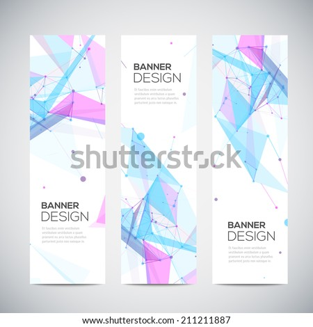 Vector vertical banners set with polygonal abstract shapes, with circles, lines, triangles - stock vector