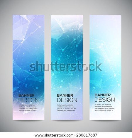 Vector vertical banners set with polygonal abstract shapes, with circles, lines, triangles. Polygonal banners - stock vector