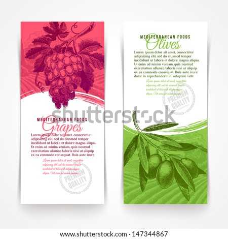 Vector vertical banners with hand drawn foods - grapes and olives - stock vector