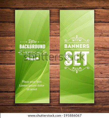 Vector vertical banners with smooth abstract green background - stock vector