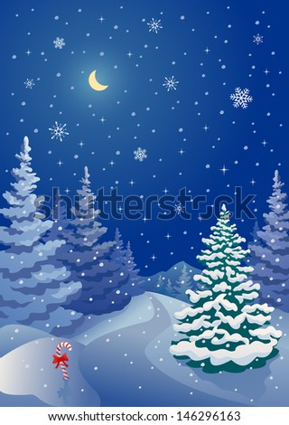 Vector vertical illustration of a snowy Christmas night at woodland - stock vector