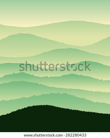 Vector vertical illustration with green hills. - stock vector