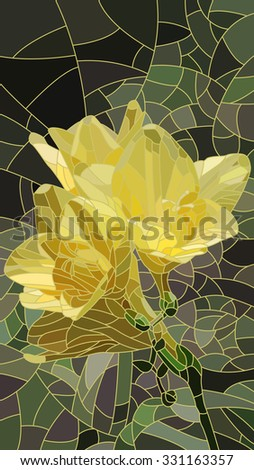 Vector vertical mosaic with large cells of yellow iris. - stock vector