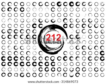 Vector very large collection or set of 212 black paint hand made creative round circle brush strokes isolated on white background, metaphor to art, grunge, grungy, graffiti, education, abstract design - stock vector