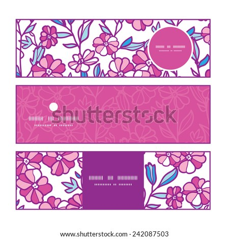 Vector vibrant field flowers horizontal banners set pattern background - stock vector