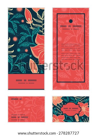 Vector vibrant tropical hibiscus flowers vertical frame pattern invitation greeting, RSVP and thank you cards set - stock vector
