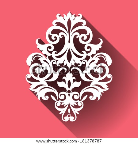 Vector Victorian ornamental pattern in flat design style. Ornate element for design. Toolkit for designer. It can be used for decorating of wedding invitations, cards, decoration for bags and clothes. - stock vector