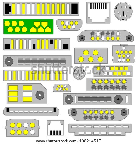 Vector video, audio and telephone connectors - stock vector