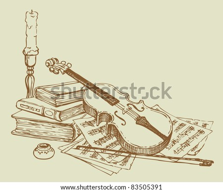 Vector vignette. Sketch a still life of a violin against a background of old books and pages with notes about the candlestick and ink - stock vector